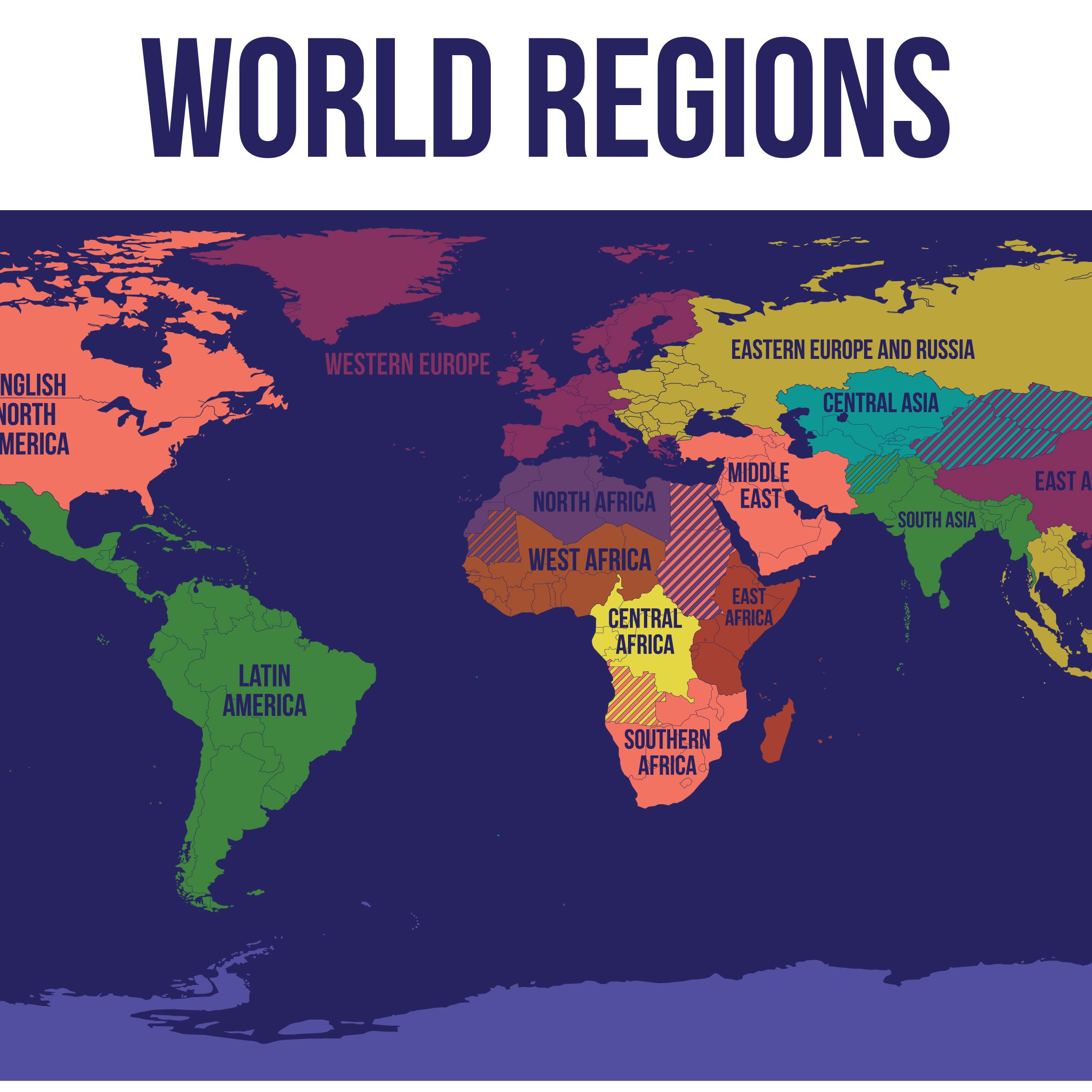 World Map regions Logo (Newest)